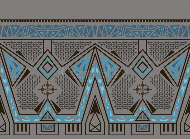 Vector ethnic seamless pattern with american indian traditional ornament in blue colors. Tribal background. Aztec design for fabric. Print of native american stock illustration