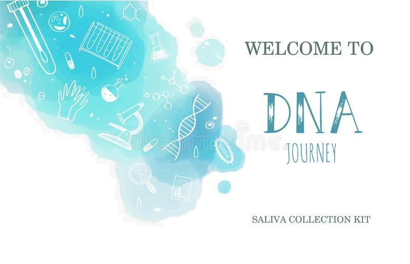 Vector Ethnicity and genealogy DNA genetic test home kit cover, design template, background. Hand drawn illustrations of. Medical genome research equipment stock illustration