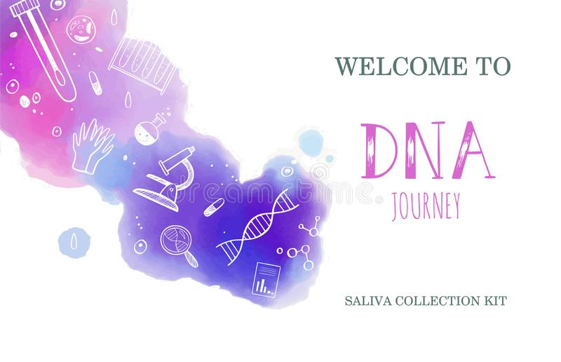 Vector Ethnicity and genealogy DNA genetic test home kit cover, design template, background. Hand drawn illustrations of. Medical genome research equipment vector illustration