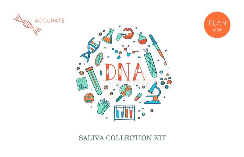 Vector Ethnicity and genealogy DNA genetic test home kit cover, design template, background. Hand drawn illustrations of. Medical genome research equipment royalty free illustration