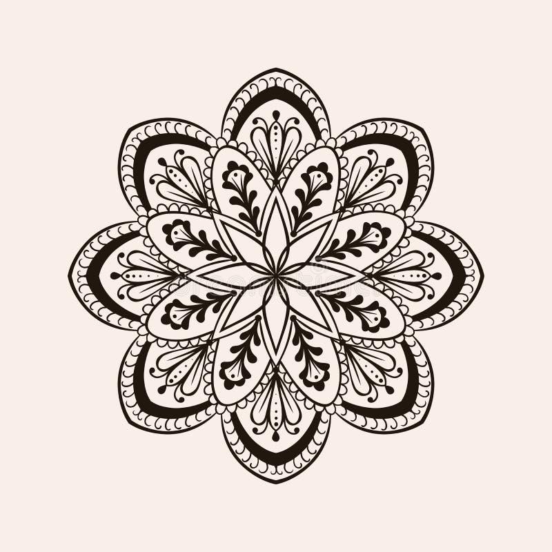 Vector ethnische Mandala des Hennastrauches, boho Tätowierungsdesign in der Gekritzelart stock abbildung