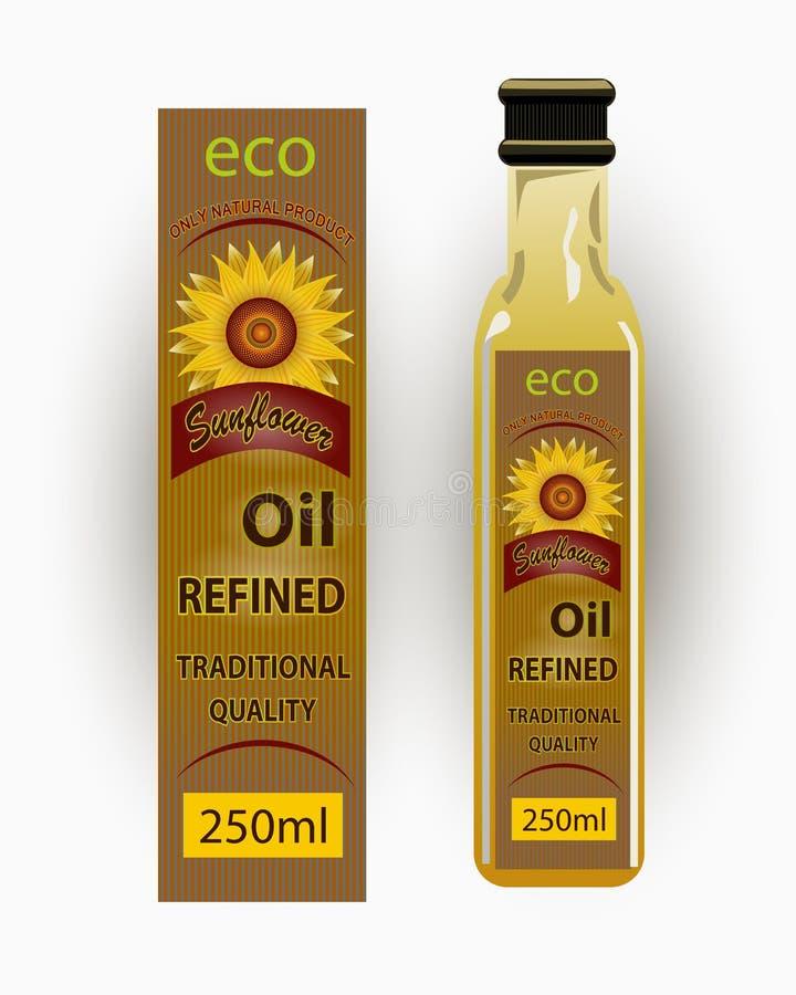 Vector a etiqueta para o óleo de girassol refinado com girassol ilustração do vetor
