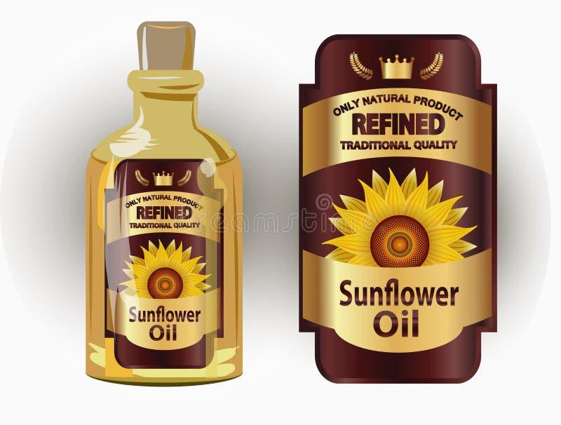 Vector a etiqueta para o óleo de girassol refinado com girassol ilustração stock