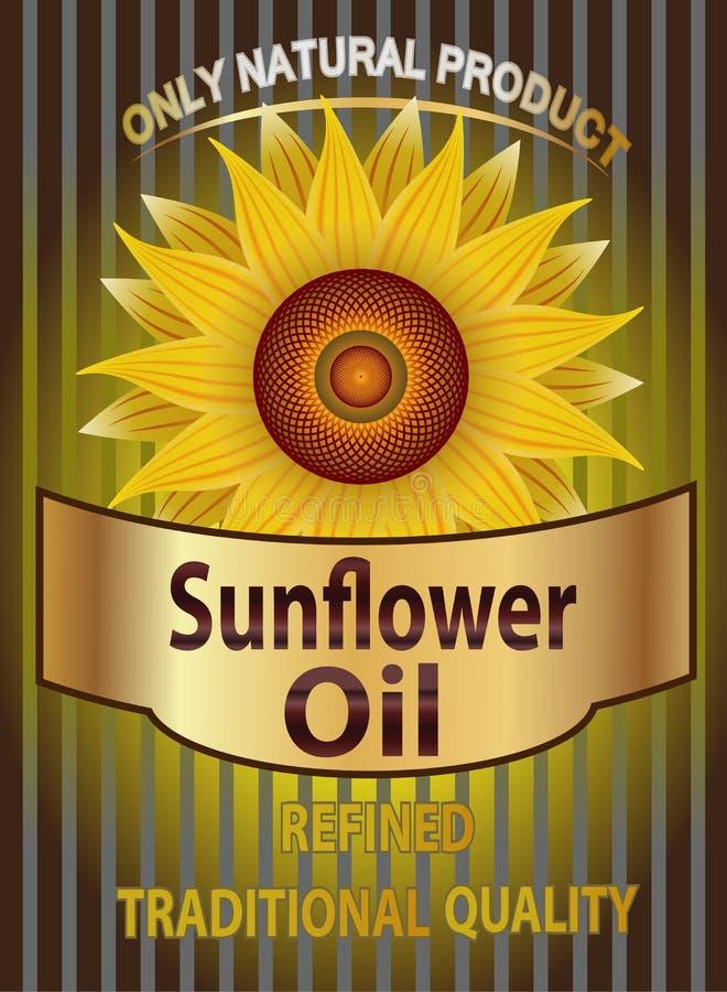 Vector a etiqueta para o óleo de girassol refinado com girassol ilustração royalty free