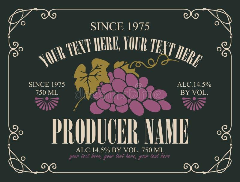 Vector a etiqueta para o vinho com grupo de uvas ilustração royalty free