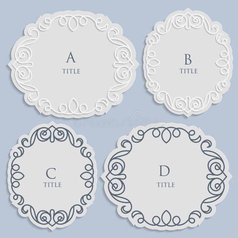 Vector a etiqueta, quadro para uma inscrição, ornamento caligráfico do vintage, molde para cortar o papel ilustração royalty free