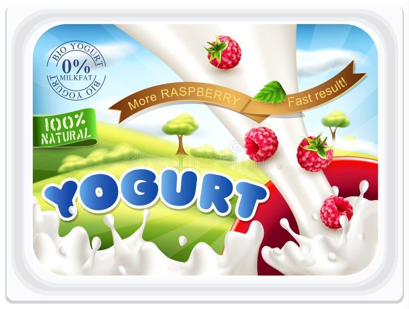 Vector etiquetas do molde para o iogurte de embalagem com framboesas sobre ilustração do vetor