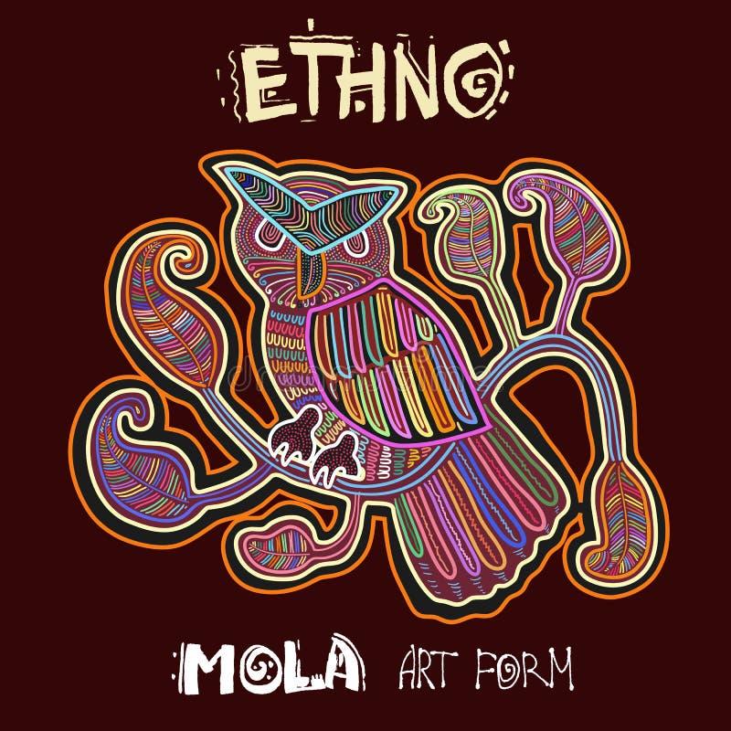 Vector Etnisch Ontwerpelement Ethno MOLA Art Form Mola Style Bird Ethno Heldere Decoratieve Illustratie stock afbeelding