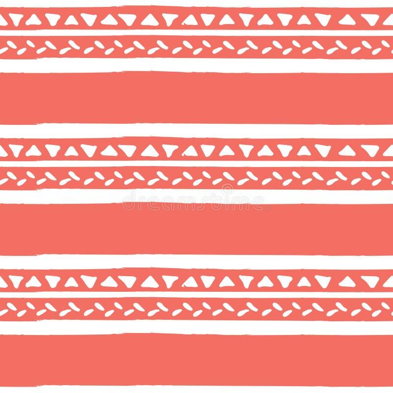 Vector etnisch ornament, geometrisch streep naadloos patroon in in kleur van 2019, het leven koraal royalty-vrije illustratie