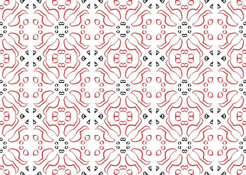 Vector etnisch rood-zwart ornament voor uw borduurwerkontwerp vector illustratie