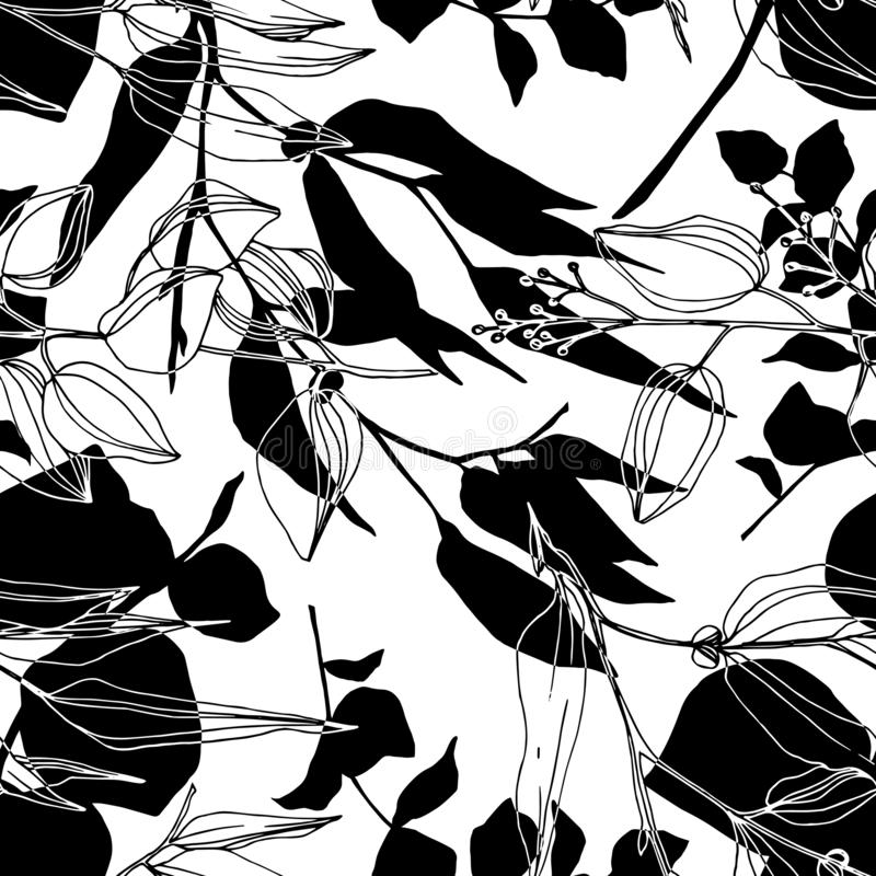 Vector Eucalyptus tree leaves jungle botanical. Black and white engraved ink art. Seamless background pattern. stock illustration
