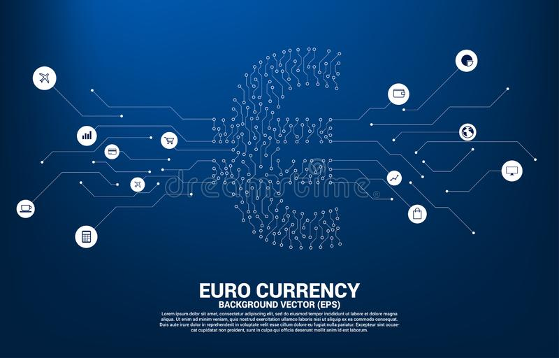 Vector euro currency money icon from circuit board style dot connect line. Concept for digital economy and financial network stock illustration