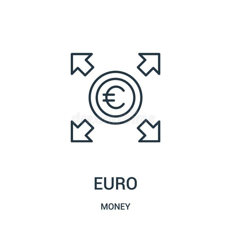 vector euro del icono de la colecci?n del dinero L?nea fina ejemplo euro del vector del icono del esquema ilustración del vector
