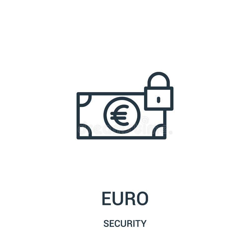 vector euro del icono de la colecci?n de la seguridad L?nea fina ejemplo euro del vector del icono del esquema S?mbolo linear libre illustration
