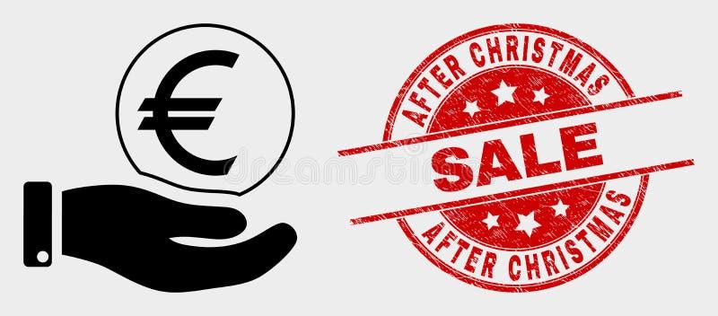 Vector Euro het Muntstukpictogram en Grunge van de Handaanbieding na het Watermerk van de Kerstmisverkoop stock illustratie