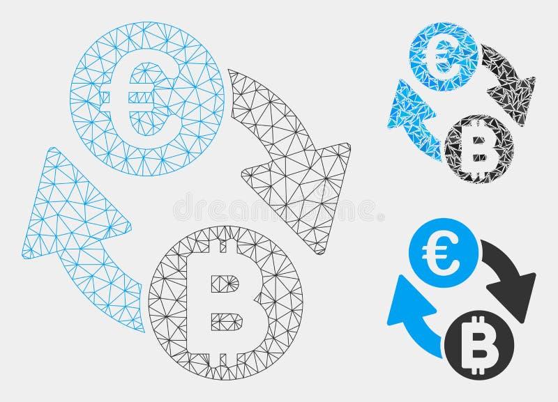 Vector euro Mesh Network Model de las monedas del intercambio de Bitcoin e icono del mosaico del triángulo stock de ilustración