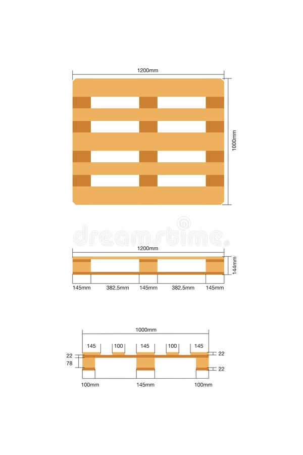 Vector euro pallets 1000x1200 mm white background. stock image