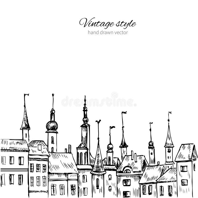 Vector europäisches altes Haus, die Hand gezeichnete Tintenillustrationsvilla, die auf weißem Hintergrund, Schablonenplakat, Kart vektor abbildung