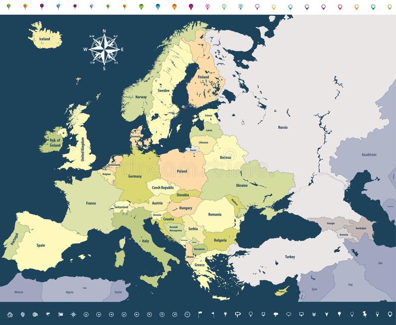 Vector Europe high detailed political map with location icons on soft dark blue background. stock illustration