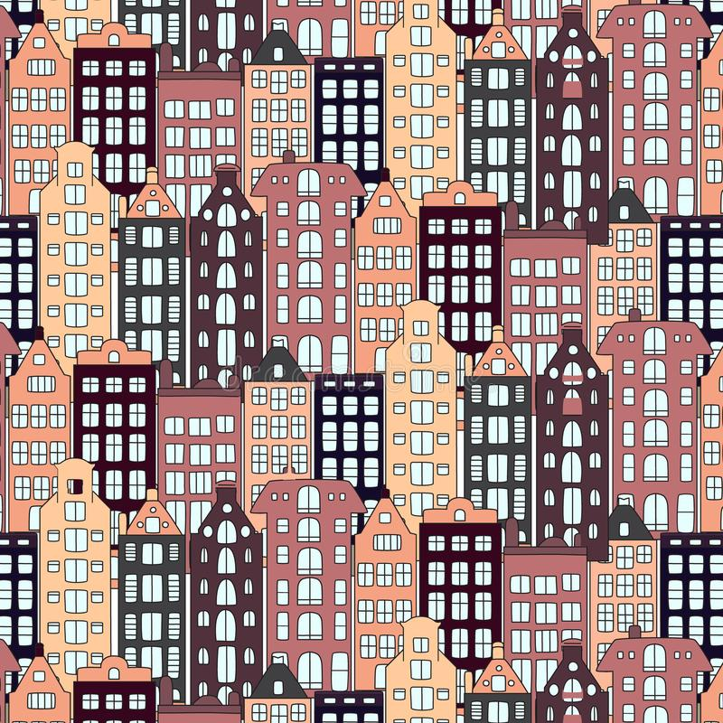 Vector Europe houses and building illustration. Urban pattern style. Street modern cottage exterior texture. Vector Europe houses and building illustration vector illustration
