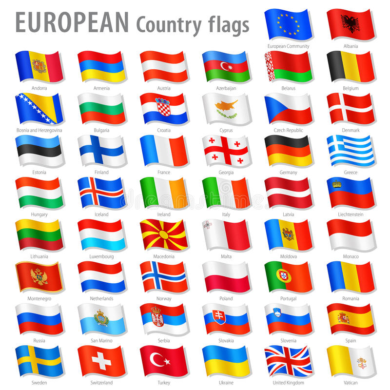 Vector Europe National Flag Set. Vector Collection of all European National Flags, in simulated 3D waving position, with names and grey shadow. Every Flag is royalty free illustration