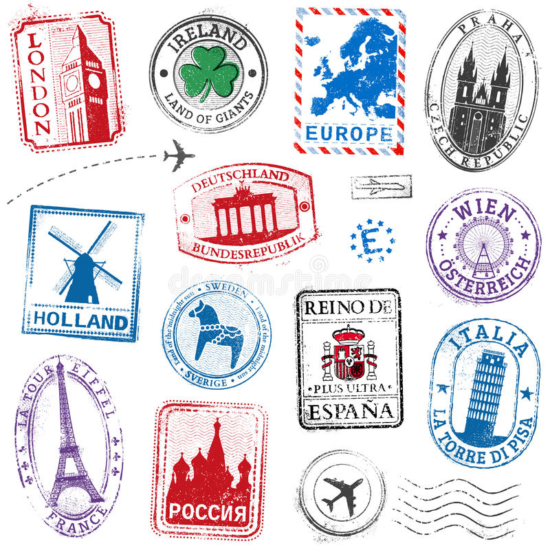 Vector Europe Stamps. A high detail collection of Travel Stamps concepts, with traditional symbols from all major countries of Europe