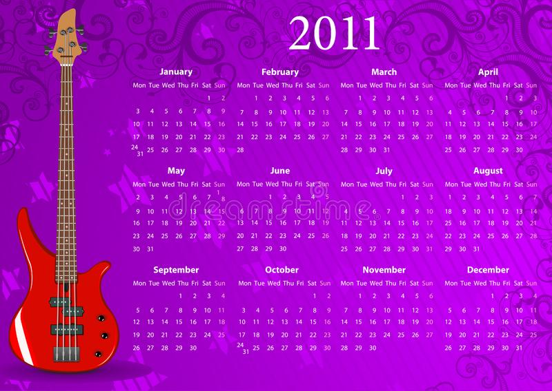Download Vector European Calendar 2011 With Bass Guitar Stock Vector - Illustration of pattern, background: 15098340