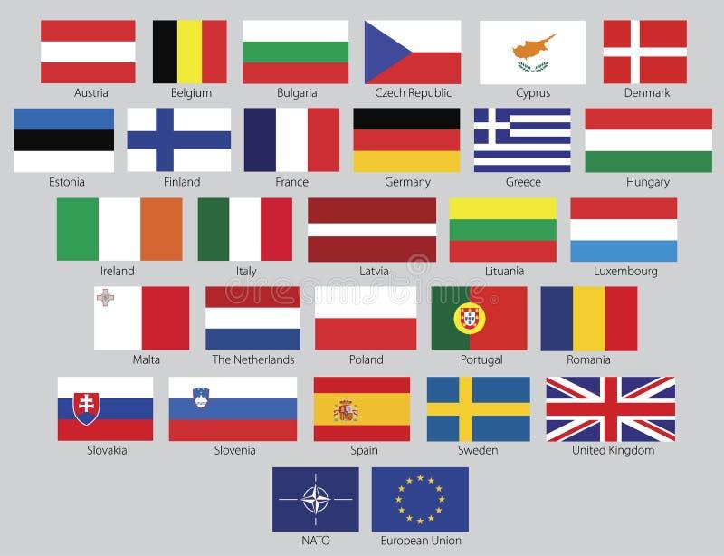 Vector European Union flags royalty free illustration