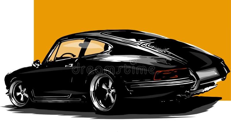 Vector Europese klassieke sportwagensilhouetten, overzichten, contouren Uw embleem stock illustratie