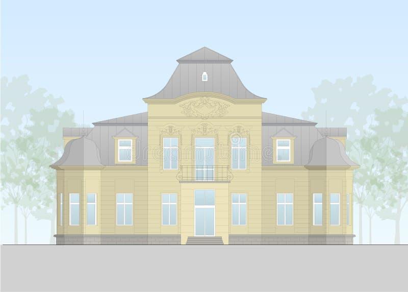 Vector of an europian family villa form the beginning of the 20th century. Vector facade of a historical building. Flat design, layered stock illustration