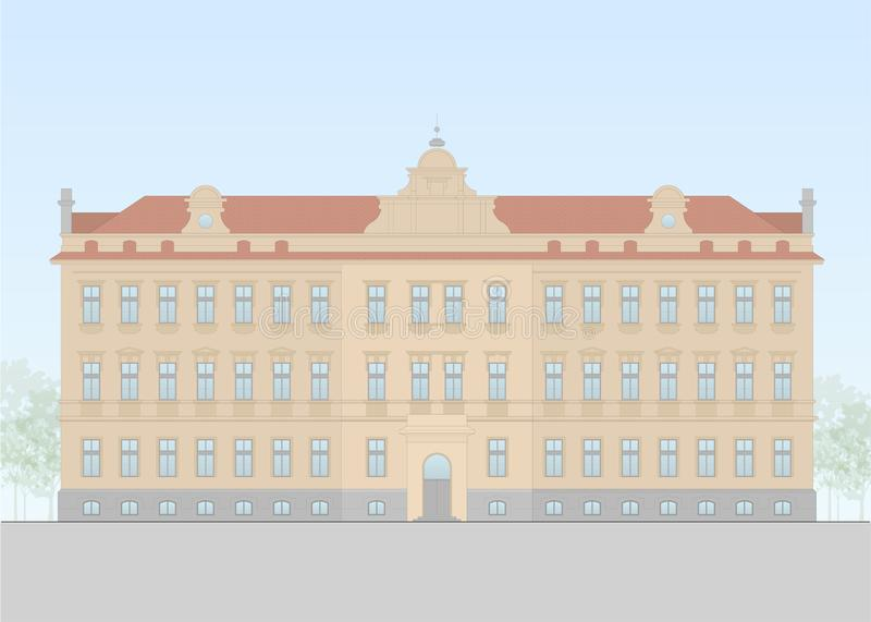 Vector of an europian school form the beginning of the 20th century. Vector facade of a historical building. Flat design, layered royalty free illustration