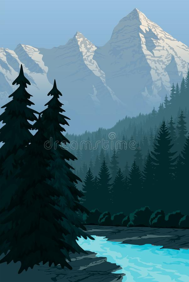 Free Vector Evening In Beautiful Mountains With River Stock Photography - 123261022