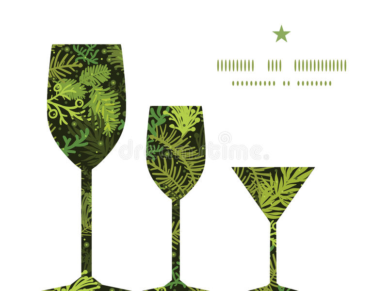 Vector evergreen christmas tree three wine glasses vector illustration