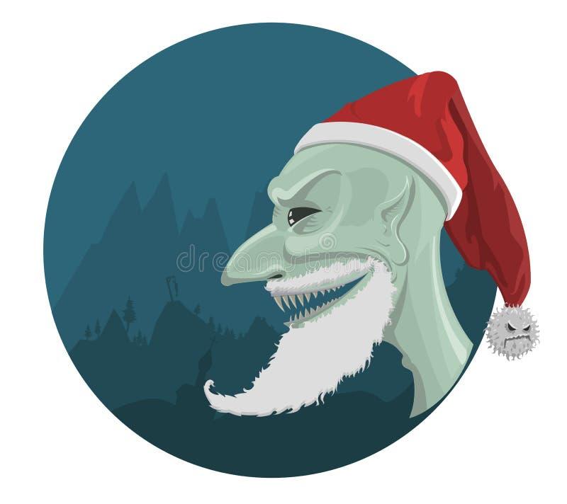 Vector evil Santa Claus in red hat