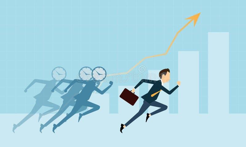 Vector executivos no gráfico competitivo com tempo do negócio ilustração royalty free