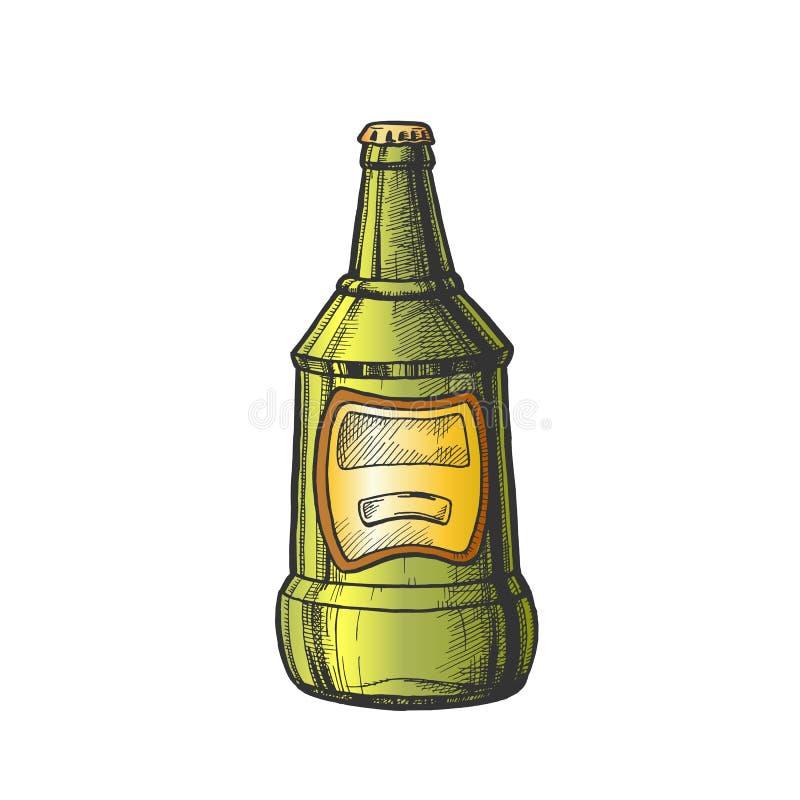 Vector exhausto de la etiqueta del espacio en blanco del color de la botella de cristal de la mano libre illustration