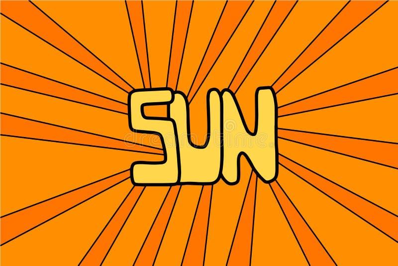 Vector exhausto de la mano de Sun que pone letras al ejemplo en estilo de la historieta Amarillo-naranja stock de ilustración