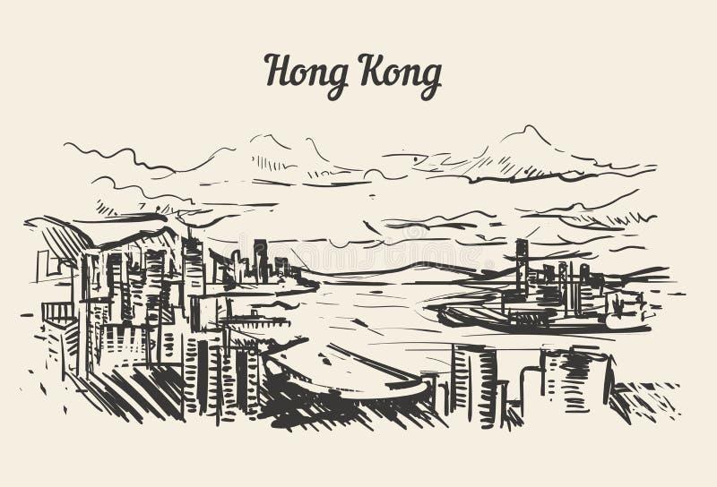 Vector exhausto del bosquejo de la mano del horizonte de Hong Kong stock de ilustración