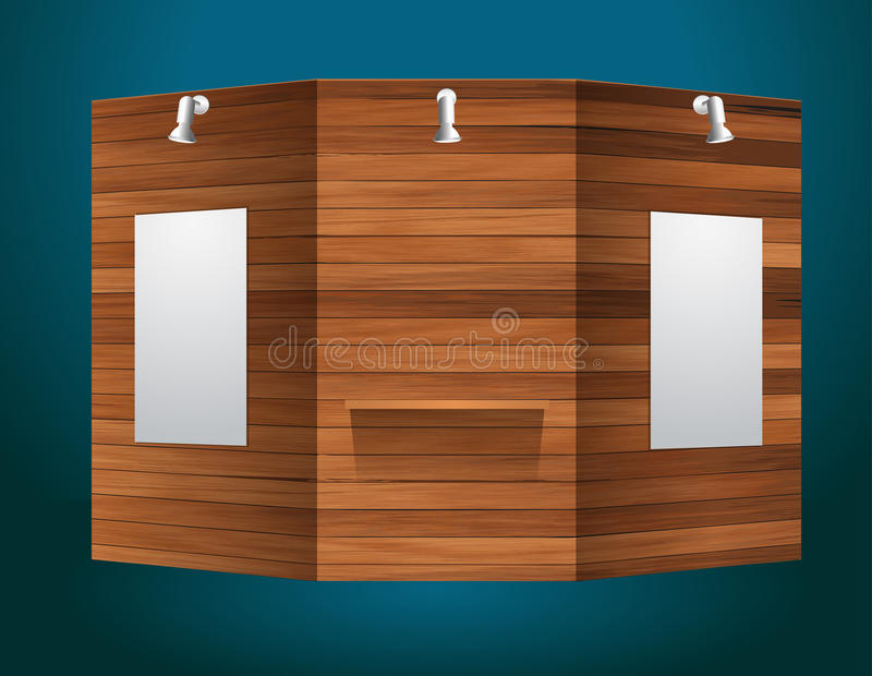 Modern Exhibition Stand Vector : Vector exhibition stand with wood texture stock