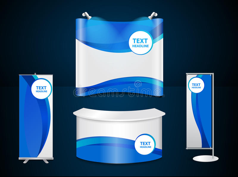 Vector exhibition stands with blue corporate identity template. Exhibition stands with blue corporate identity template with digital elements, Vector royalty free illustration