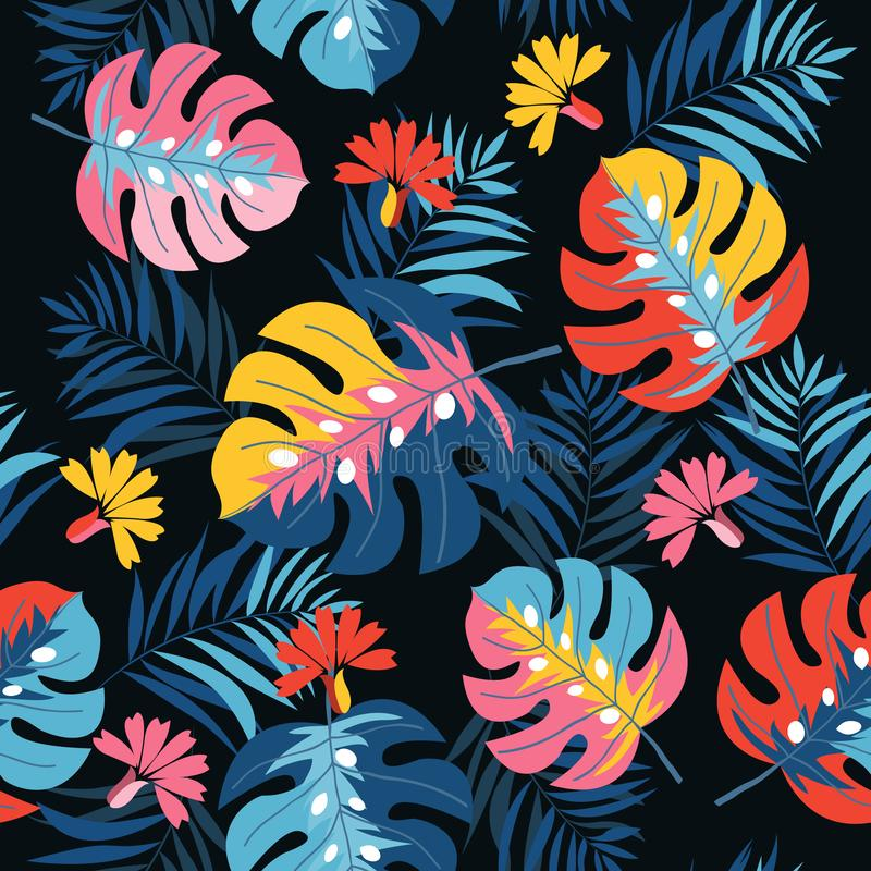 Vector exotic floral pattern on black background. for fashion, swimwear, active wear. Amazing palms and flowers. Tropical seamless pattern with flower and leaf stock illustration