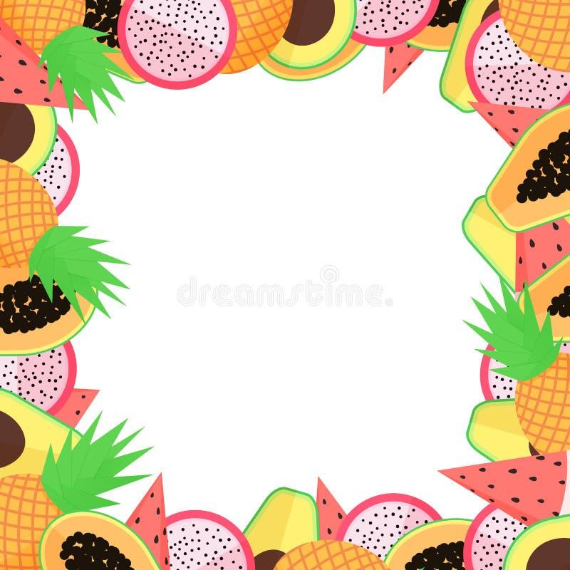 Vector exotic fruit frame with papaya, avocado, pineapple, dragon fruit and watermellon stock illustration
