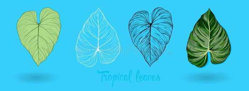 Vector exotische tropische die bladeren, de reeks van het wildernisgebladerte op witte achtergrond wordt geïsoleerd Vlakke kleurr stock illustratie