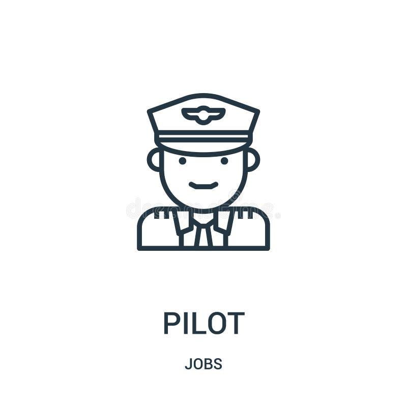 vector experimental del icono de la colección de los trabajos L?nea fina ejemplo del vector del icono del esquema del piloto S?mb libre illustration
