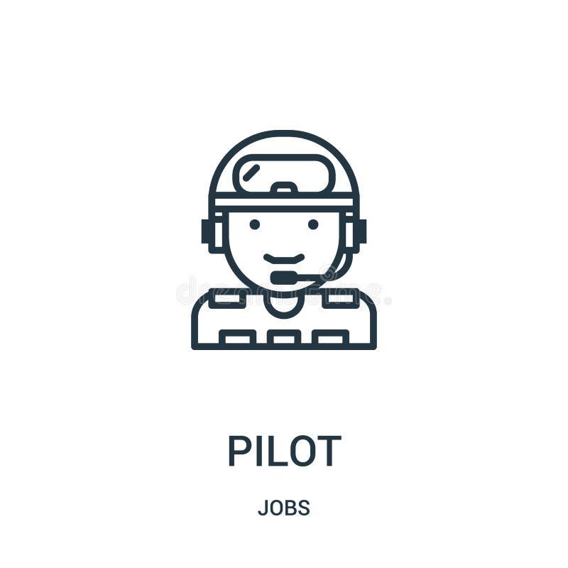 vector experimental del icono de la colecci?n de los trabajos L?nea fina ejemplo del vector del icono del esquema del piloto S?mb libre illustration
