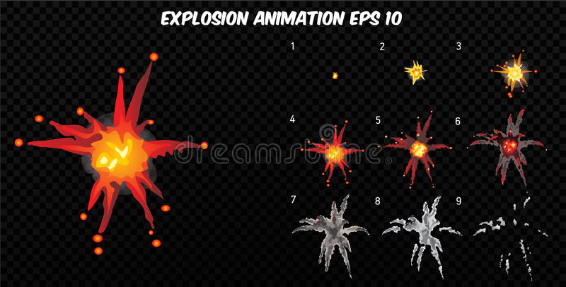 Vector explode. Explode effect animation with smoke. Cartoon explosion frames. Sprite sheet of explosion stock illustration