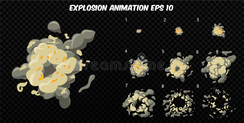 Vector explode. Explode effect animation with smoke. Cartoon explosion frames. Sprite sheet of explosion vector illustration