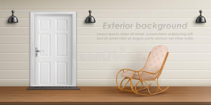Vector exterior background with veranda facade vector illustration