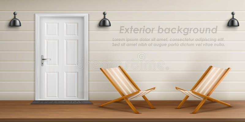 Vector exterior background with veranda facade royalty free illustration