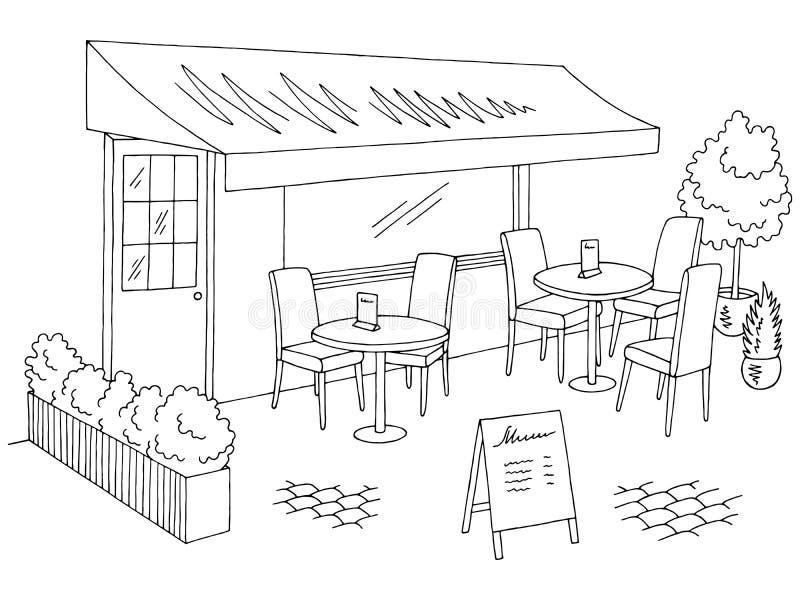 Vector exterior del ejemplo del bosquejo blanco negro gráfico del café de la calle libre illustration